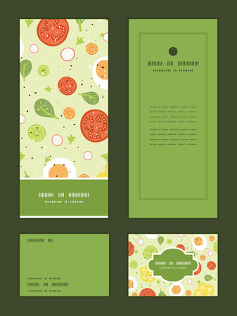 Vector fresh salad vertical frame pattern invitation greeting, RSVP and thank you cards set Vector