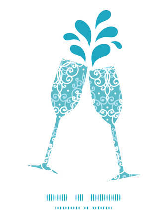 toasting wine: Vector light blue swirls damask toasting wine glasses silhouettes pattern frame