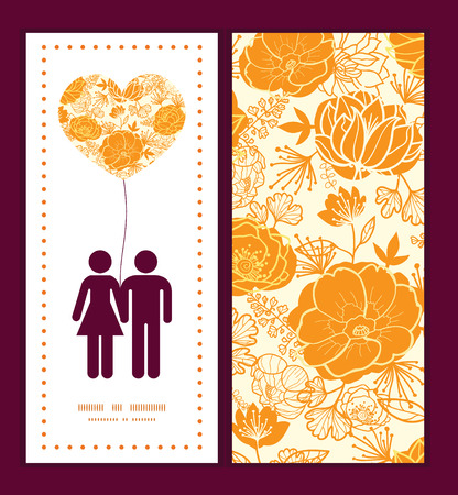 Vector golden art flowers couple in love silhouettes frame pattern invitation greeting card template Illustration