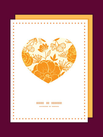 Vector golden art flowers heart symbol frame pattern invitation greeting card template Vector
