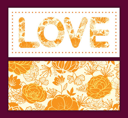 Vector golden art flowers love text frame pattern invitation greeting card template