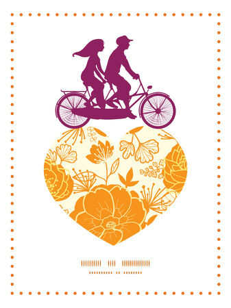 postcard: Vector golden art flowers couple on tandem bicycle heart silhouette frame pattern greeting card template