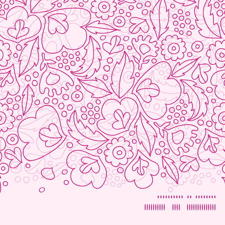 Vector pink flowers lineart horizontal frame seamless pattern background