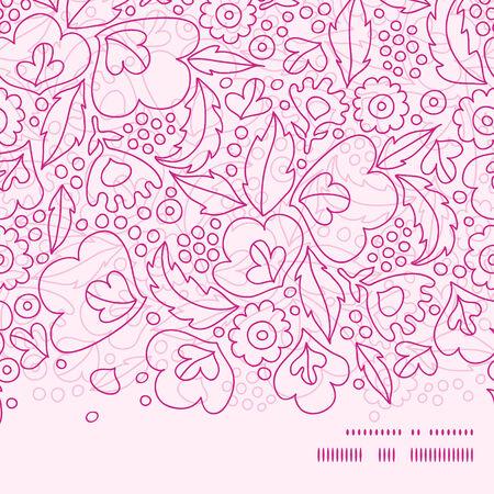 horizontal: Vector pink flowers lineart horizontal frame seamless pattern background