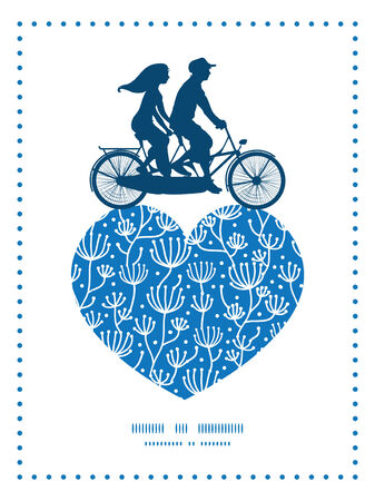 tandem bicycle: Vector blue white lineart plants couple on tandem bicycle heart silhouette frame pattern greeting card template