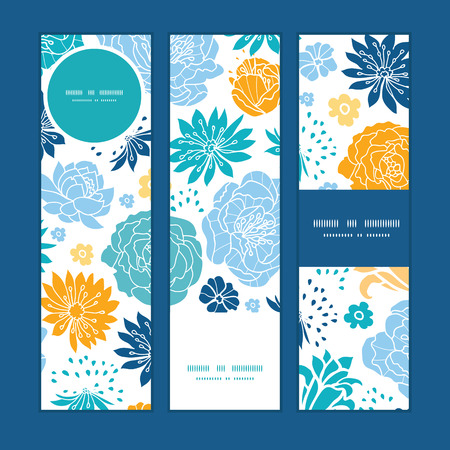 Vector blue and yellow flowersilhouettes vertical banners set pattern background