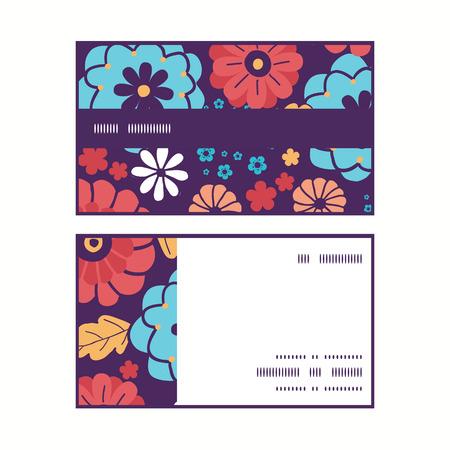 ramo de flores: Vector coloridas flores del ramo de la raya horizontal tarjetas Modelo del marco del asunto fijados Vectores