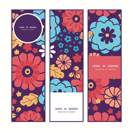 ramo de flores: Flores colorido ramo Vector banners verticales patr�n establecido de fondo Vectores