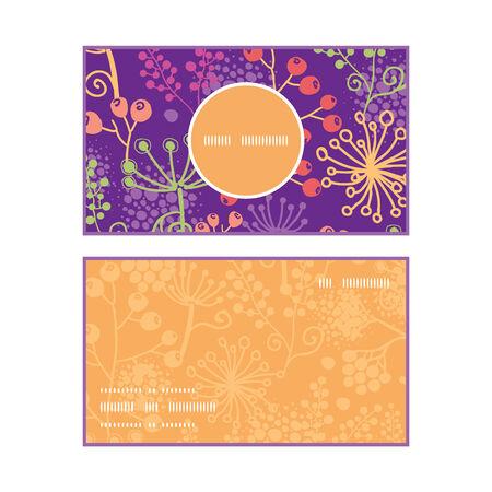 vertical garden: Vector colorful garden plants vertical round frame pattern business cards set Illustration