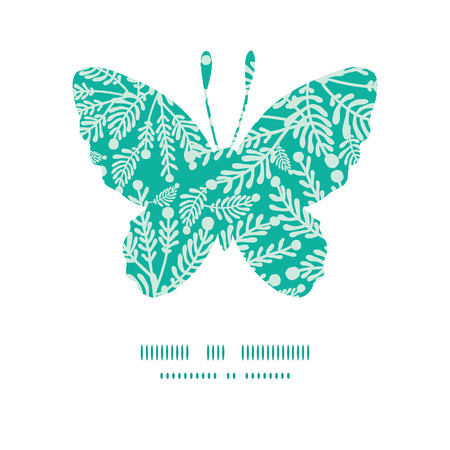 emerald: Vector emerald green plants butterfly silhouette pattern frame