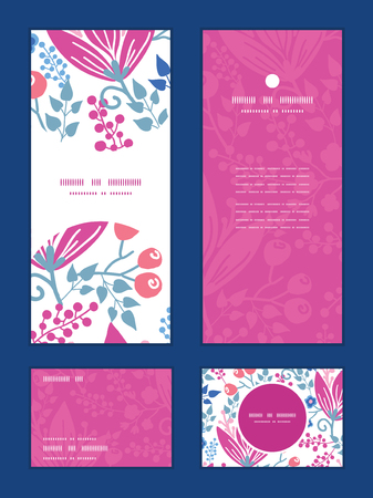 rsvp: Vector pink flowers vertical frame pattern invitation greeting, RSVP and thank you cards set