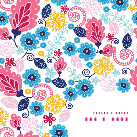 fashion design: Vector fairytale flowers frame corner pattern background