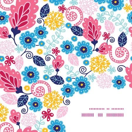 esquineros de flores: Vector flores de cuento de hadas esquina patr�n marco de fondo