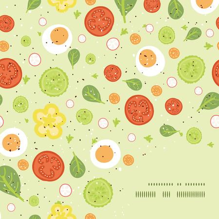 벡터 신선한 샐러드 프레임 모서리 패턴 배경