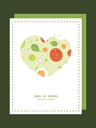 Vector fresh salad heart symbol frame pattern invitation greeting card template