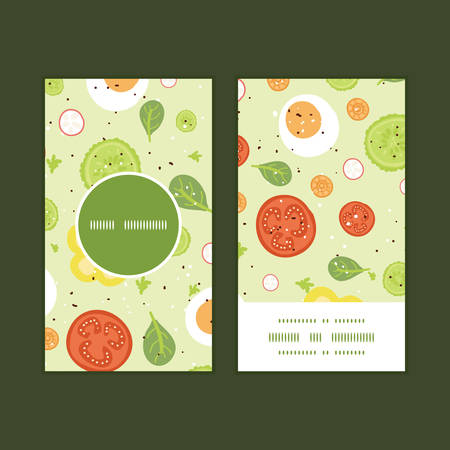 spinach salad: Vector fresh salad vertical round frame pattern business cards set
