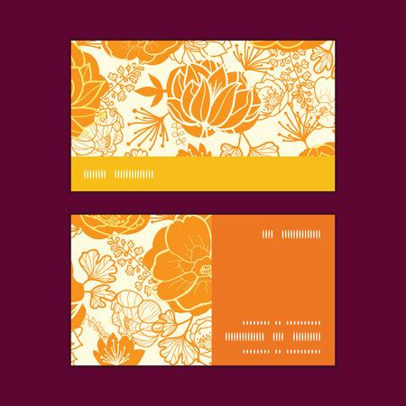 flowers horizontal: Vector golden art flowers horizontal stripe frame pattern business cards set
