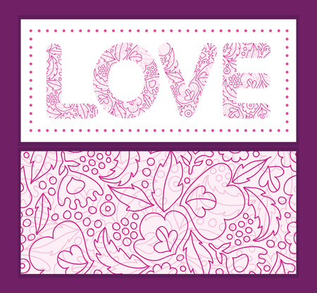 Vector pink flowers lineart love text frame pattern invitation greeting card template Vector