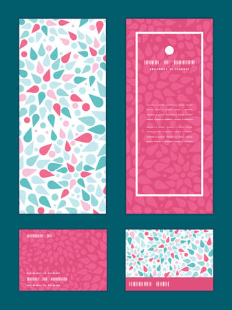 rsvp: Vector abstract colorful drops vertical frame pattern invitation greeting, RSVP and thank you cards set