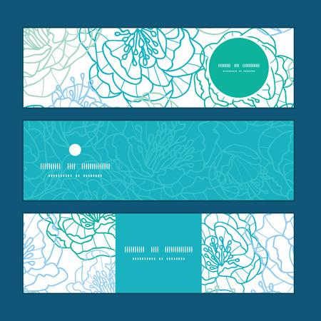 flowers horizontal: Vector blue line art flowers horizontal banners set pattern background Illustration