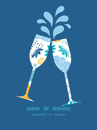 toasting wine: Vector blue and yellow flowersilhouettes toasting wine glasses silhouettes pattern frame