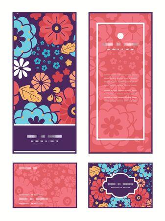 ramo de flores: Vector colorido ramo de flores marco vertical patr�n saludo invitaci�n, RSVP y le agradece las tarjetas fijan Vectores