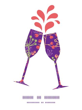 toasting wine: Vector colorful garden plants toasting wine glasses silhouettes pattern frame