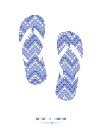 summer holiday: Vector purple drops chevron flip flops silhouettes pattern frame Illustration
