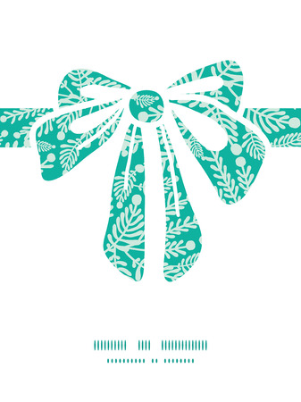 emerald: Vector emerald green plants gift bow silhouette pattern frame