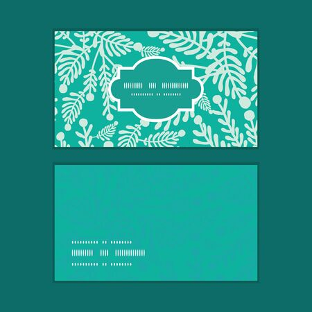 leafage: Vector emerald green plants horizontal frame pattern business cards set