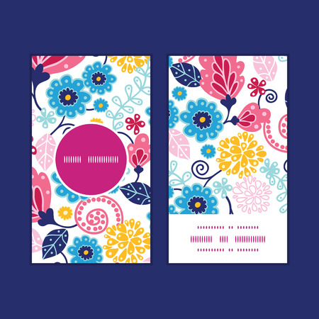 Vector fairytale flowers vertical round frame pattern business cards set