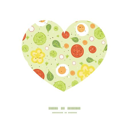spinach salad: Vector fresh salad heart silhouette pattern frame