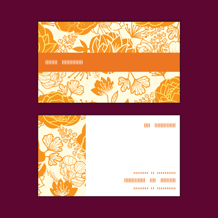 Vector golden art flowers horizontal stripe frame pattern business cards set
