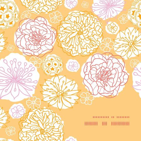 Vector warm day flowers frame corner pattern background