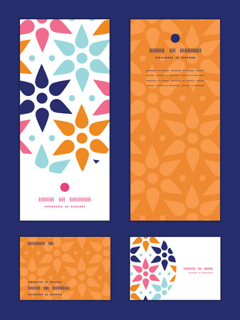 rsvp: Vector abstract colorful stars vertical frame pattern invitation greeting, RSVP and thank you cards set Illustration