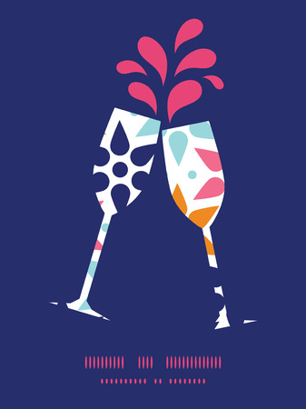 Vector abstract colorful stars toasting wine glasses silhouettes pattern frame
