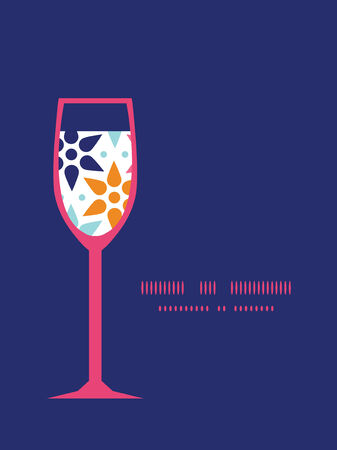 Vector abstract colorful stars wine glass silhouette pattern frame Vector