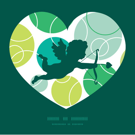 Vector abstract green circles shooting cupid silhouette frame pattern invitation greeting card template Vectores