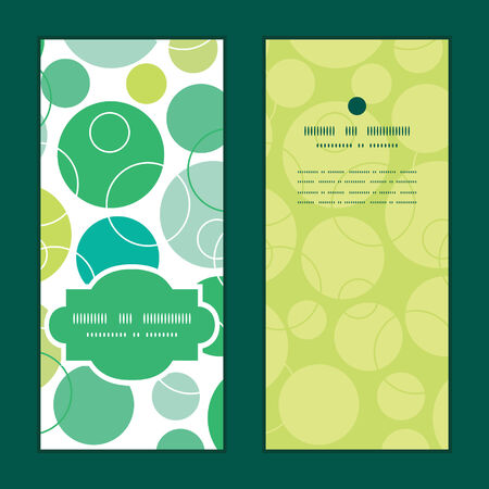 Vector abstract green circles vertical frame pattern invitation greeting cards set