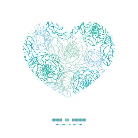 streckbilder: Vector blå linje konstblommor hjärta siluettmönster ram Illustration