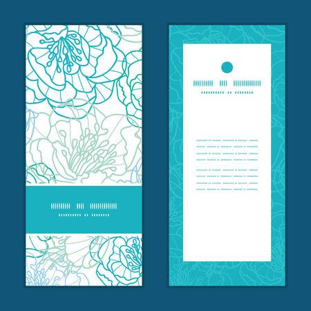 Vector blue line art flowers vertical frame pattern invitation greeting cards set