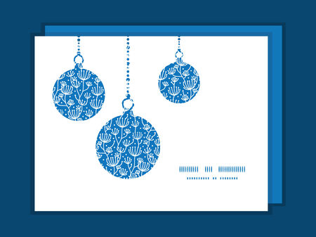 ball chains: Vector blue white lineart plants Christmas ornaments silhouettes pattern frame card template