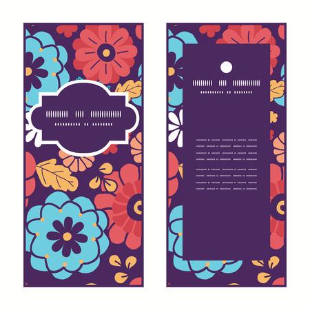 ramo de flores: Vector coloridas flores del ramo de estructura vertical tarjetas de felicitaci�n Invitaci�n del modelo fijan Vectores