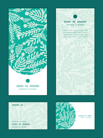 rsvp: Vector emerald green plants vertical frame pattern invitation greeting, RSVP and thank you cards set