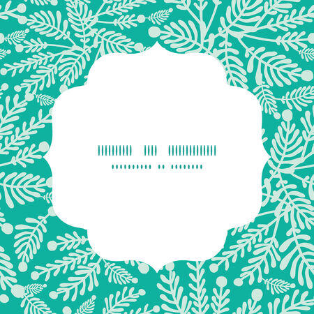 Vector emerald green plants circle frame seamless pattern background Vettoriali