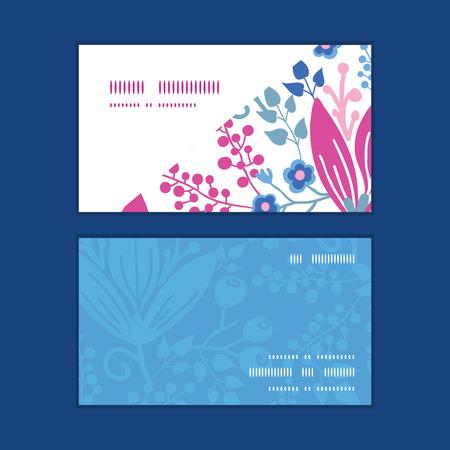 flowers horizontal: Vector pink flowers horizontal corner frame pattern business cards set