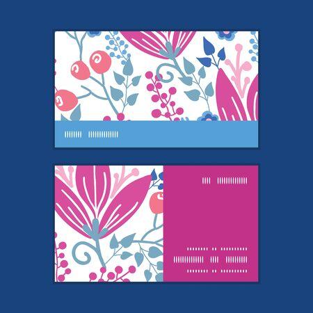 flowers horizontal: Vector pink flowers horizontal stripe frame pattern business cards set