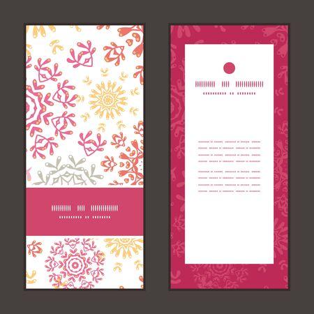 Vector folk floral circles abstract vertical frame pattern invitation greeting cards set Stok Fotoğraf - 35692929
