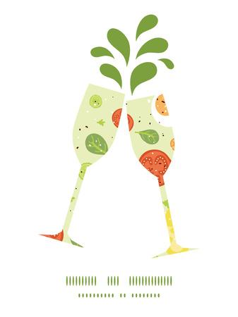 toasting wine: Vector fresh salad toasting wine glasses silhouettes pattern frame Illustration