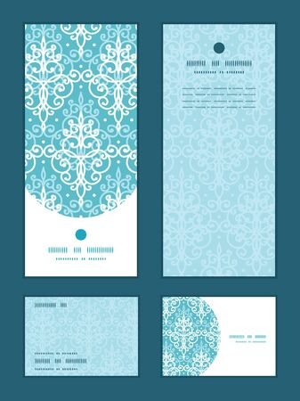 royal wedding: Vector light blue swirls damask vertical frame pattern invitation greeting, RSVP and thank you cards set